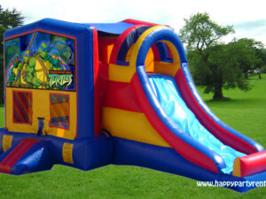 3 in 1 slide combo bounce house rentals with banner