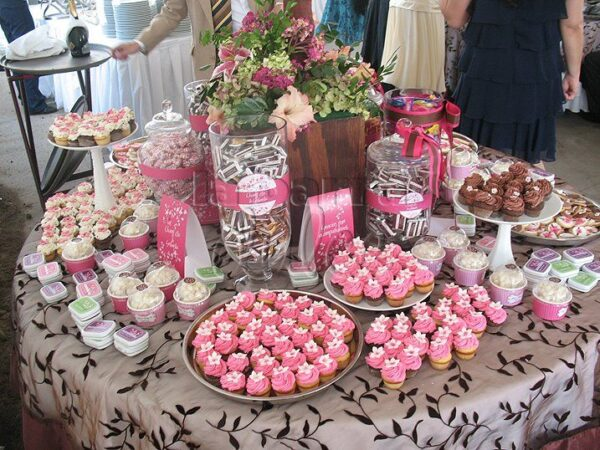 pink dessert table candy station