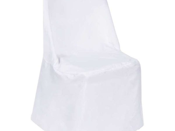 white polyester chair cover linen rentals