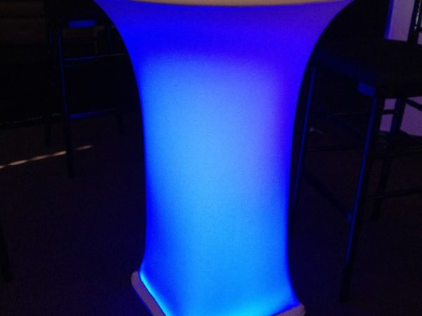 cocktail spandex linen with LED table cover linen rentals