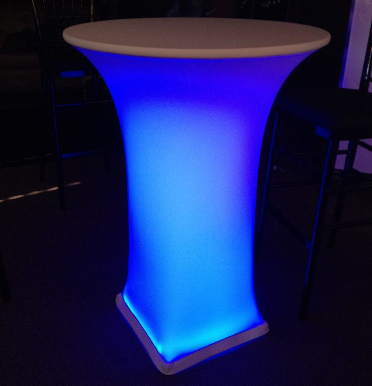 cocktail spandex linen with LED table cover linen rentals & Cocktail Spandex Linen - Happy Party Event Rentals