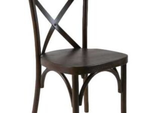 espresso wood crossback chair rentals