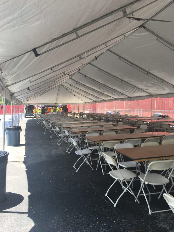 tent with tables and chairs in miami rentals