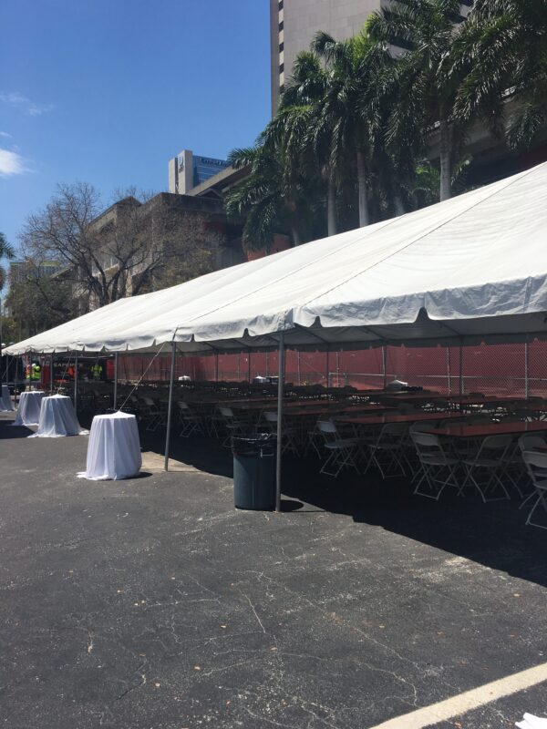 corporate tent with tables and chairs package