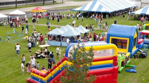 corporate bounce house package with tent rentals