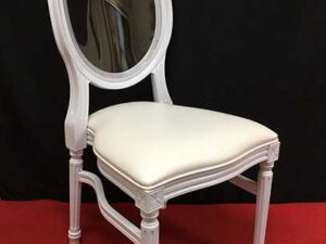 white resin louis chair rentals in miami