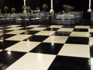 checkered vinyl weddingportable dance floor rentals