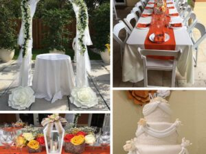 wedding arch package with tables and chairs rentals