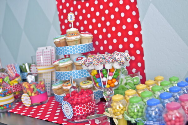 candy station with cupcakes and candy rental