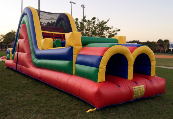 multicolor obstacle course slide combo bounce house rentals