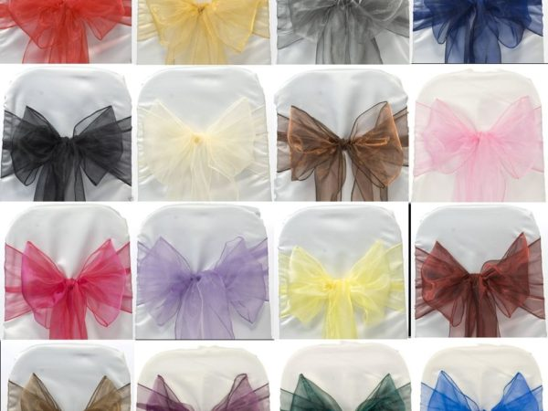 organza bows for chair cover rentals
