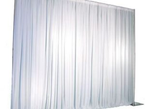 white pipe and drape backdrop for parties