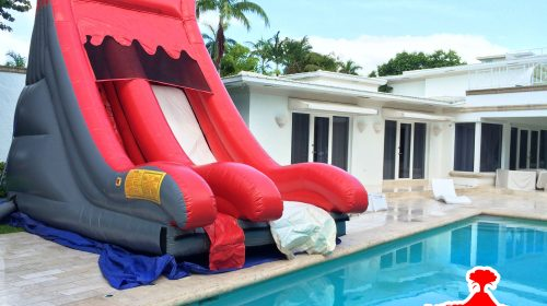 red volcano no pool water slide rentals