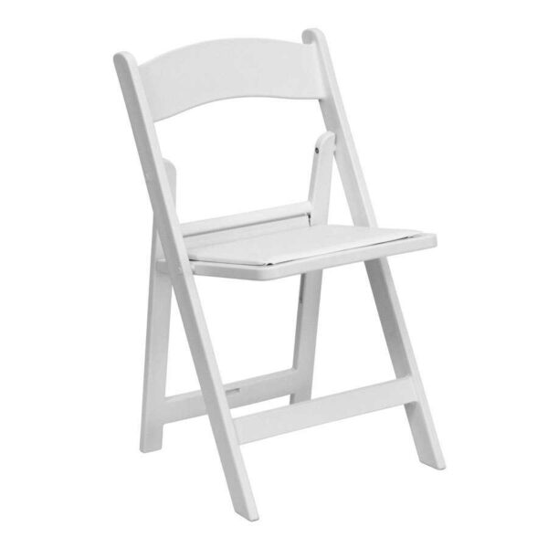 white padded resin folding chair rentals for wedding