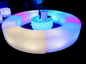 led serpentine bench furniture rental combo