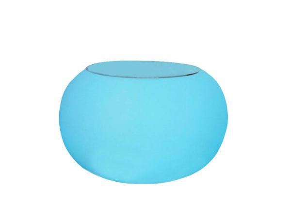 led round coffee table rental with glass top