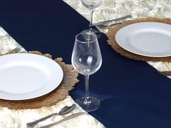 navy blue polyester overlay for table