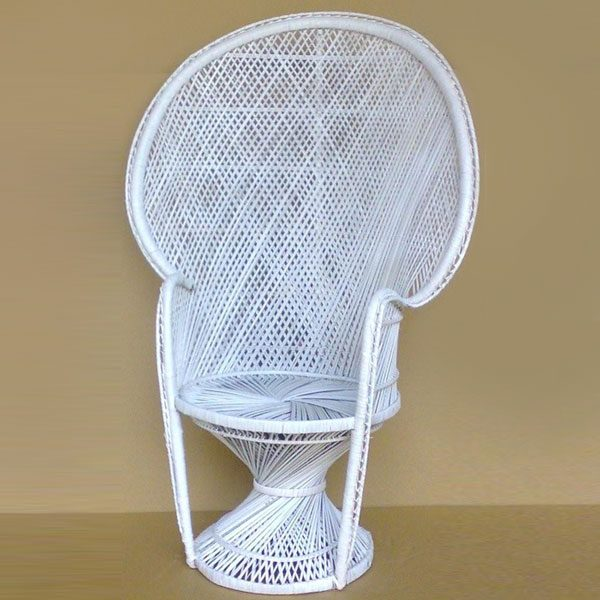 White Whicker Chair Happy Party Event Rentals