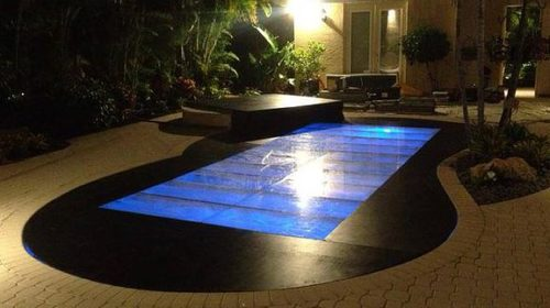 glow in dark plywood and acrylic flush pool cover dance floor rental miami