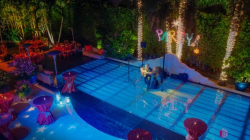 acrylic pool cover dance floor rentals with musician on top