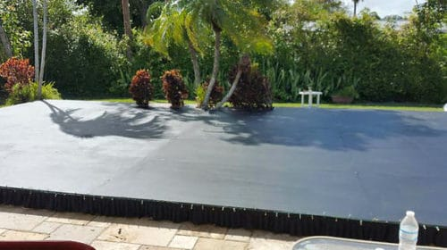 black plywood pool cover dance floor rentals