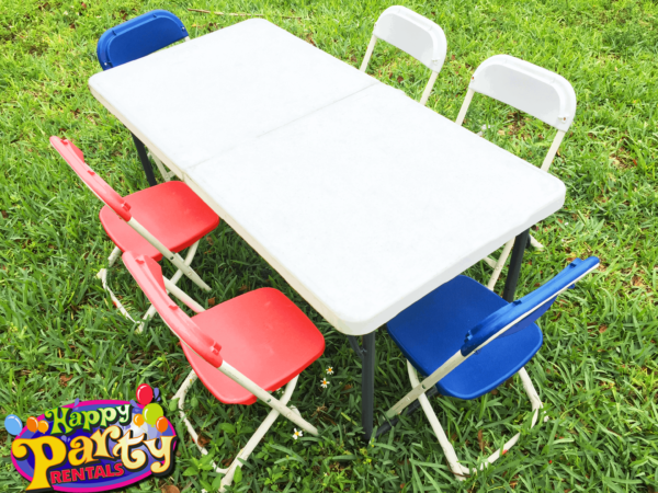 kids plastic folding chair rentals and table rentals
